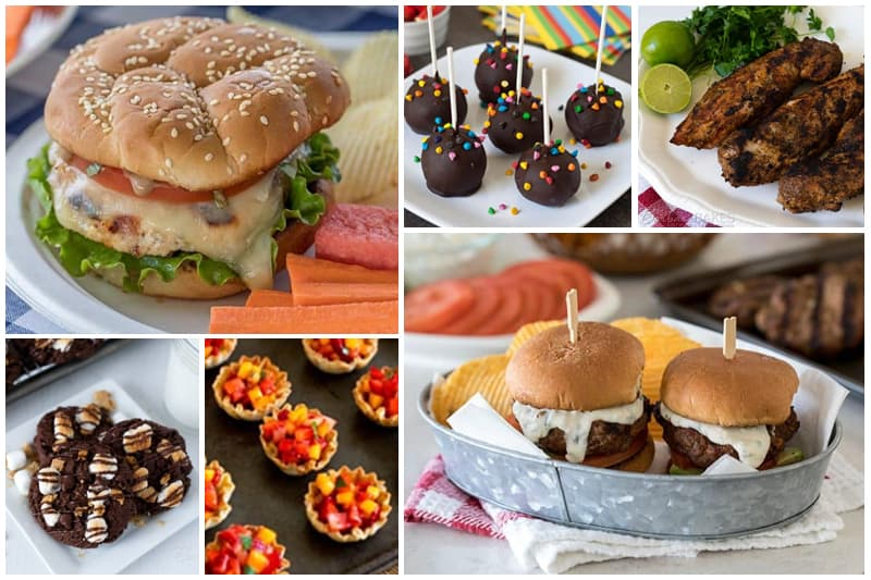 A collage of BBQ recipe ideas: chicken caprese burgers, s\'mores cookies, fruit cups, brownie pops, pork tenderloin, sliders