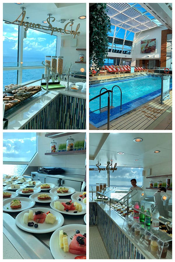 A collage of photos from the Aqua Spa Cafe