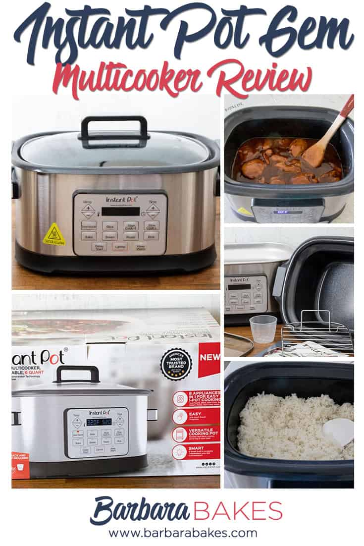 InstaPot Gem Multicooker Review - A collage of pictures of the box, Gem, cooking chicken, cooking rice, and accessories via @barbarabakes