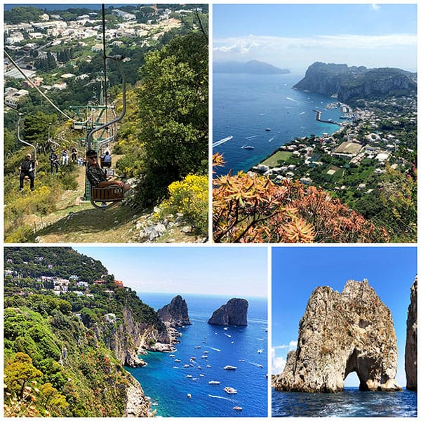collage of photos from the beautiful island of Capri