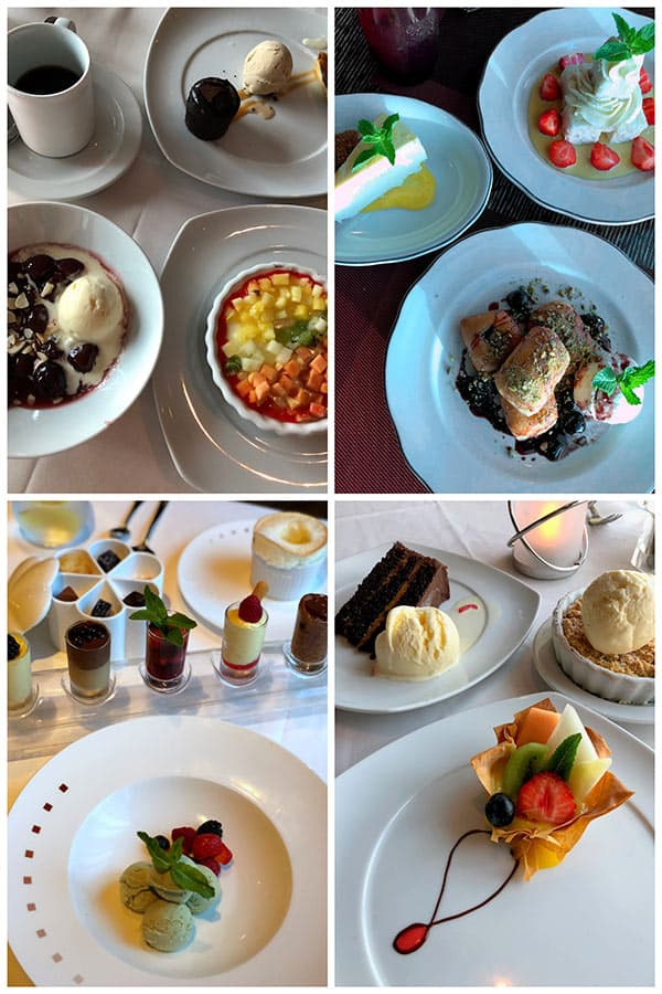 collage of desserts aboard the Celebrity Reflection.
