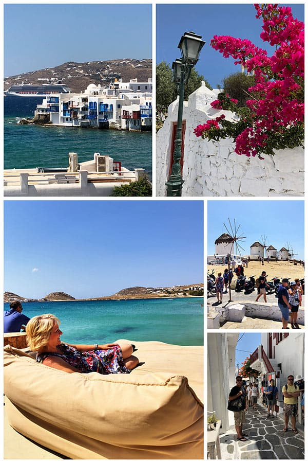 A collage of photos from the beautiful island of Mykonos, Greece