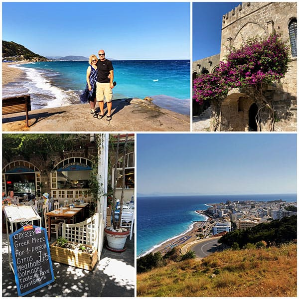 A collage of so much to do in Rhodes, Greece