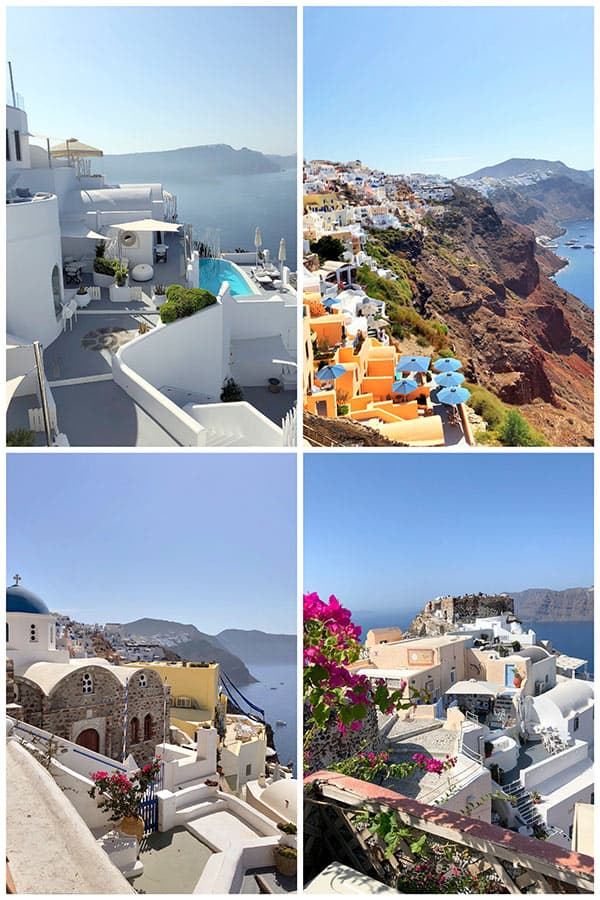 collage of photos from picturesque Santorini, Greece