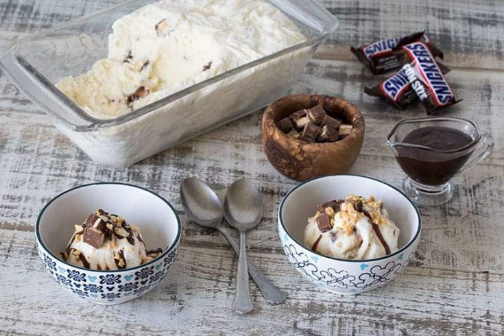 Featured Image for The Best Homemade Snickers Ice Cream