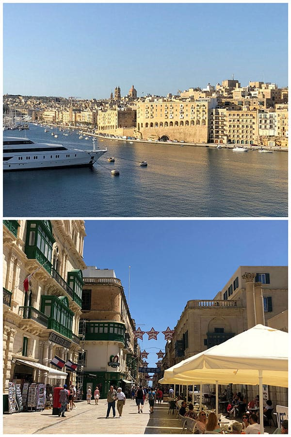 collage of two photos from Valletta, Malta