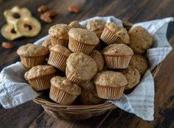 Apple Pecan Banana Mini Muffins in a wicker basket