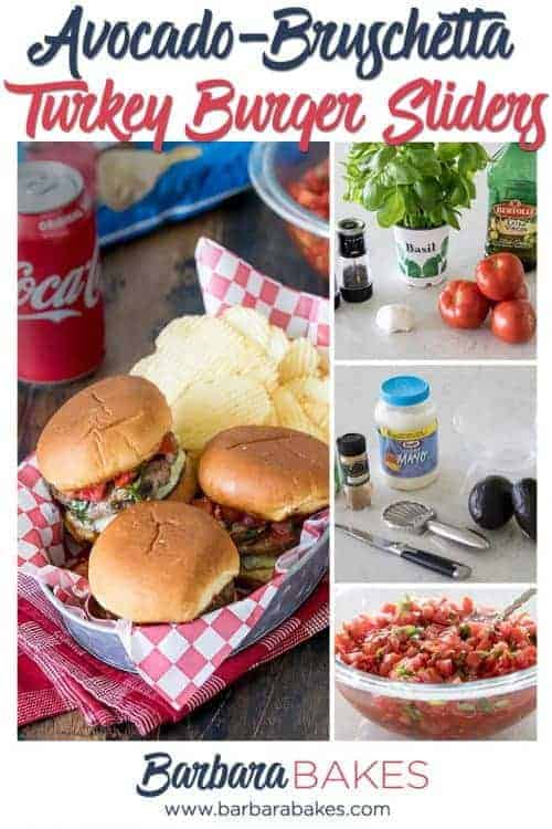 collage of Bruschetta Turkey Burgers with Avocado Spread