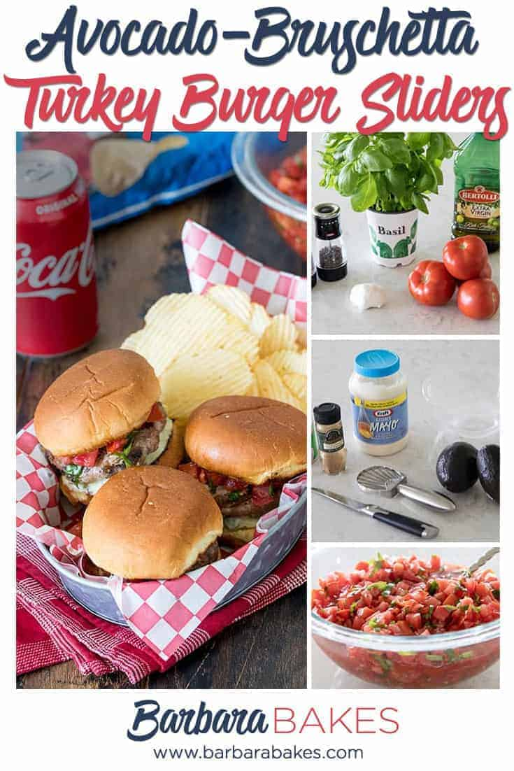Juicy, cheesy turkey burger sliders dripping with a creamy avocado spread and fresh tomato bruschetta. These Bruschetta Turkey Burger Sliders are packed with flavor and perfect for tailgating. via @barbarabakes