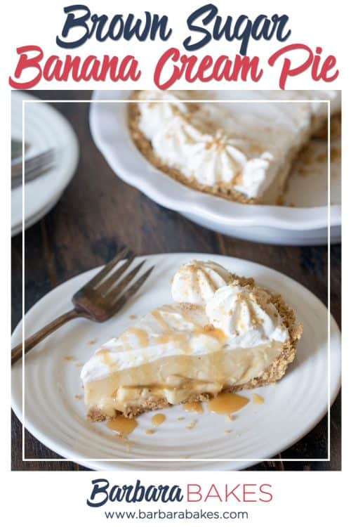 This easy to make Brown Sugar Banana Cream Pie has a graham cracker crust layered with bananas, luscious brown sugar custard and whipped cream.