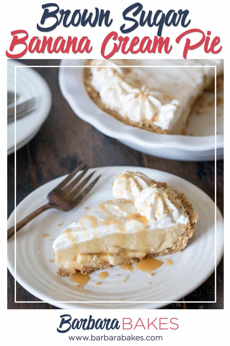 This easy to make Brown Sugar Banana Cream Pie has a graham cracker crust layered with bananas, luscious brown sugar custard and whipped cream.  via @barbarabakes