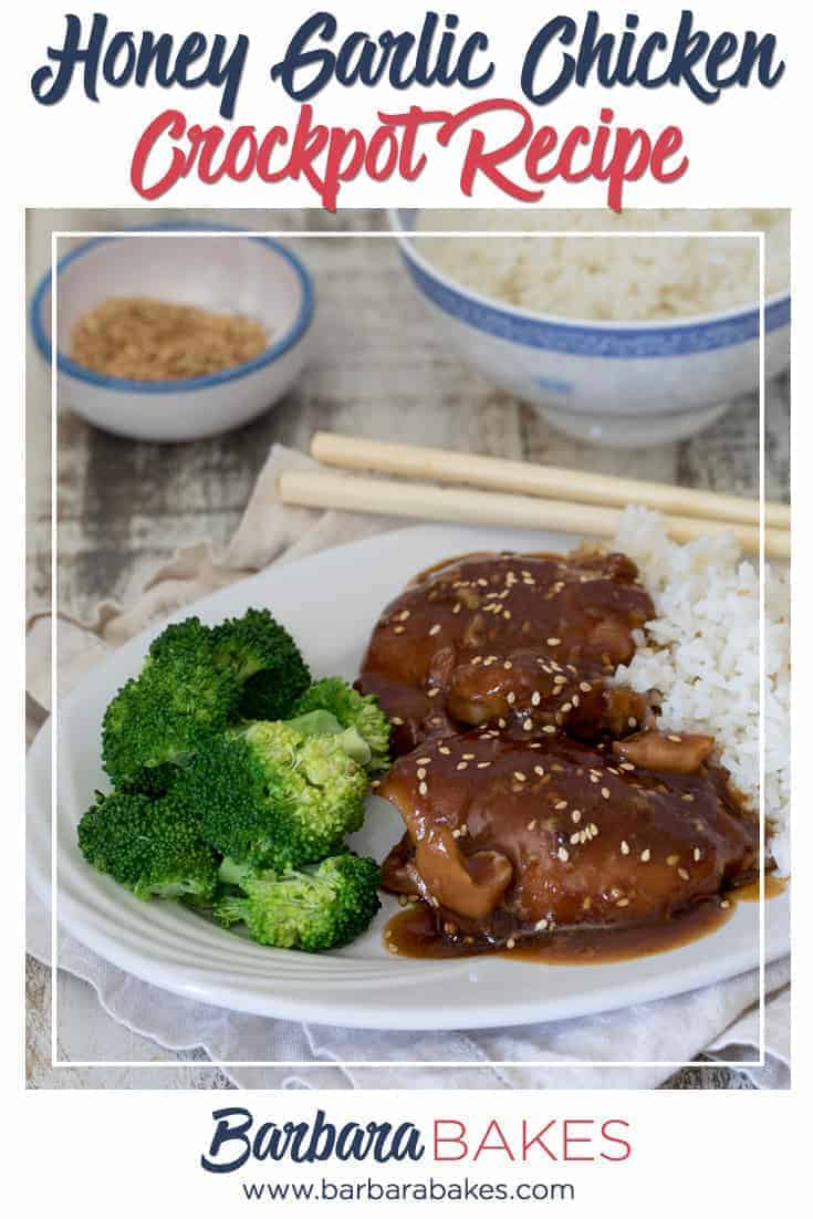 Crockpot Honey Garlic Chicken with Rice via @barbarabakes