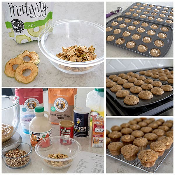 a collage showing making Whole Wheat Banana Bread / Apple Pecan Banana Mini Muffins