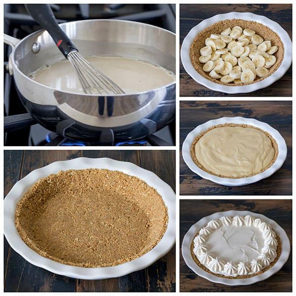 collage of making Brown Sugar Banana Cream Pie