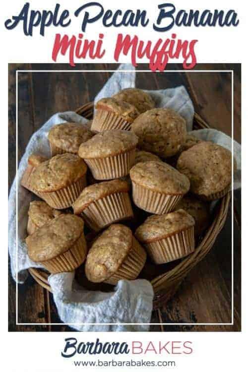 Easy Apple Pecan Banana Mini Muffins from Barbara Bakes