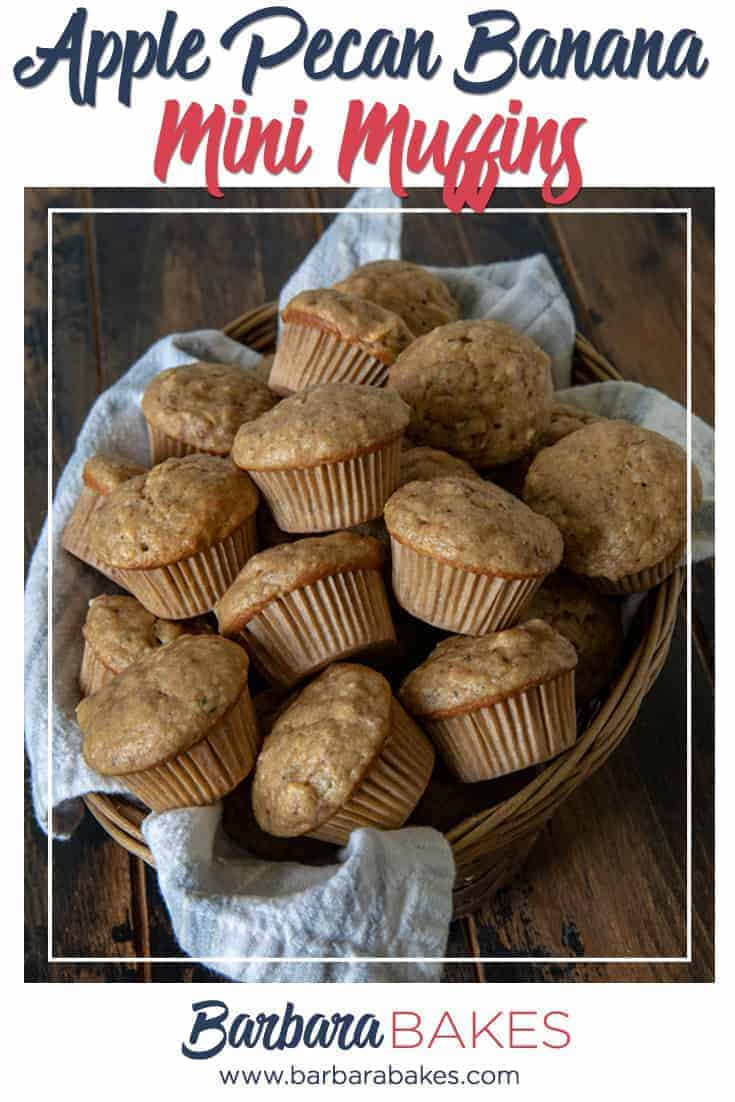 Easy Apple Pecan Banana Mini Muffins from Barbara Bakes via @barbarabakes