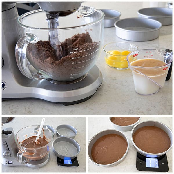 collage of making cake batter for a Chocolate Dulce De Leche Triple Layer Cake