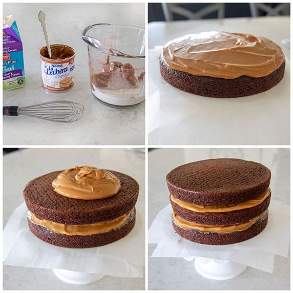 collage of Making a Dulce De Leche Cake Filling