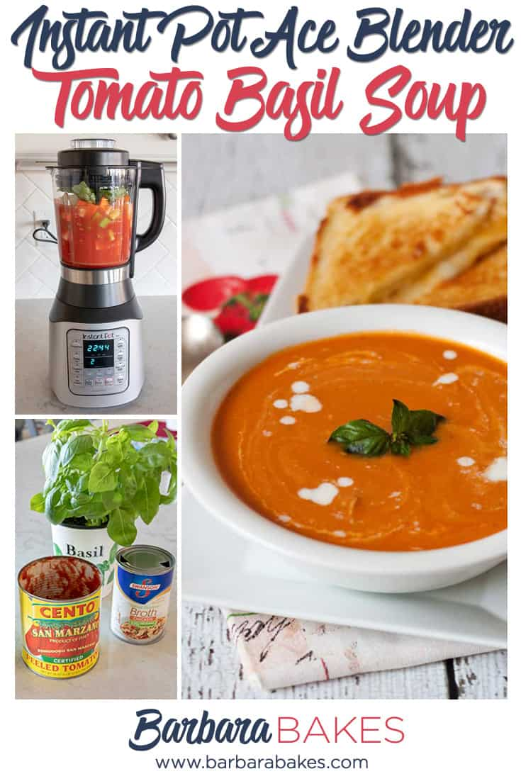 A collage of Ace Blender Fresh Tomato Basil Soup via @barbarabakes