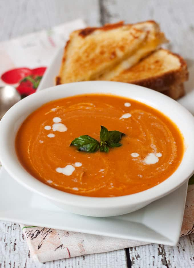 Fresh Tomato Basil Soup in a white bowl