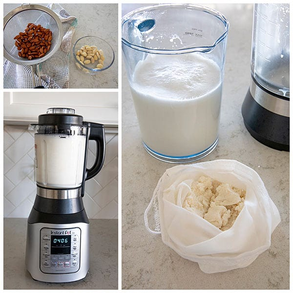 collage of making almond milk in the Instant Pot Ace Blender