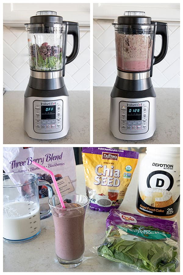 collage of nmking a smoothie in the Instant Pot Ace Blender