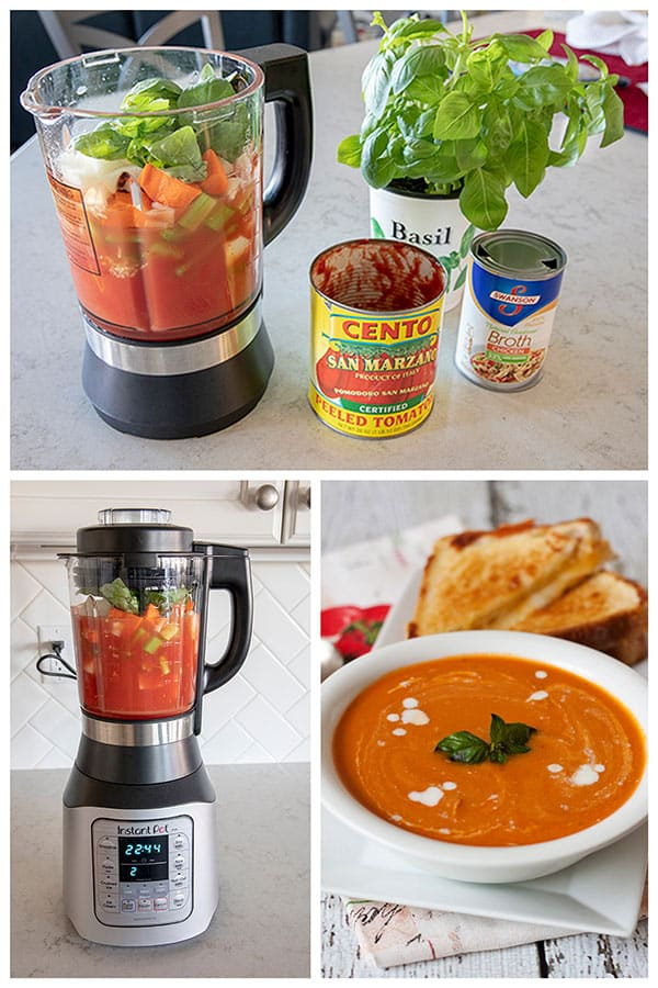 collage of making tomato basil soup in the Instant Pot Ace Blender