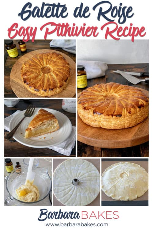 A collage of Easy Pithivier Recipe aka King Cake or Galette-de-Roise (made with puff pastry, almond paste, lemon extract)