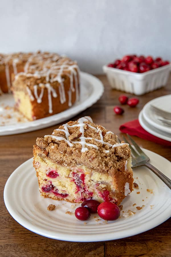 A slice of Cranberry Orange Crumb Cake
