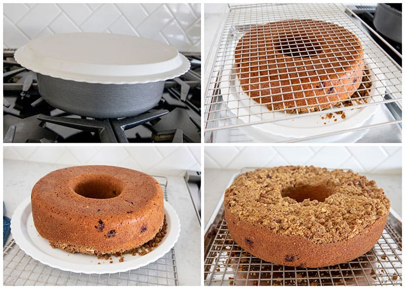 How to turn a crumb cake out of the pan.
