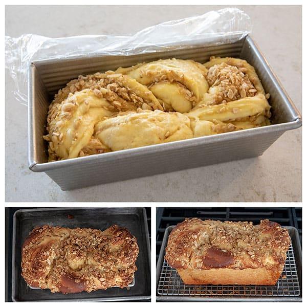 collage of Baked Lemon Streusel Twisted Babka