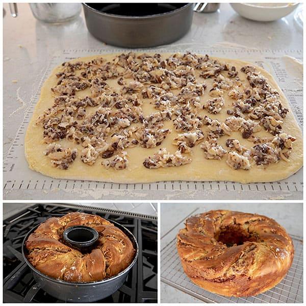 A collage of Coconut Chocolate Twist Babka Bundt
