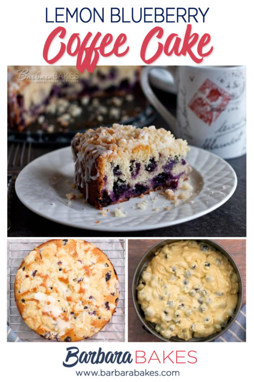 A Pinterest image collage of Easy Lemon Blueberry Coffee Cake with Streusel Topping and Lemon Glaze
