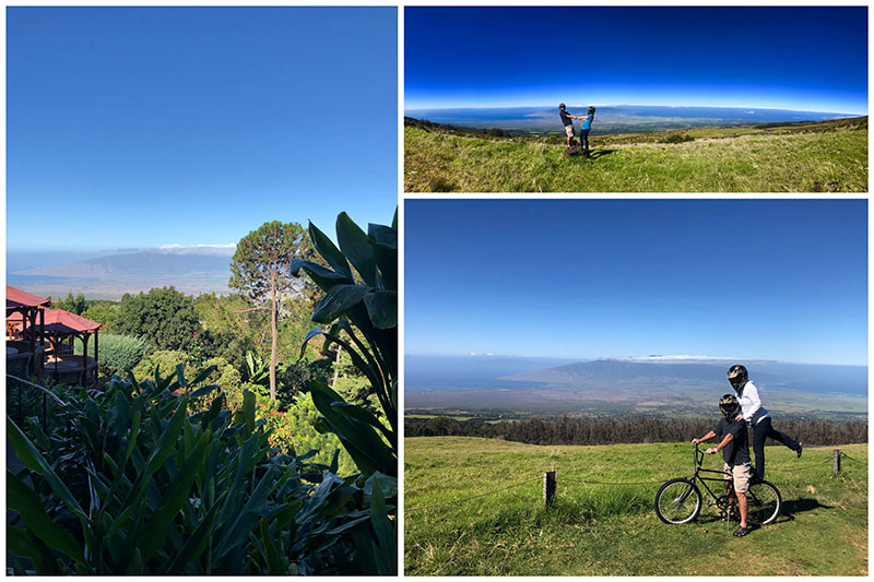 collage showing Maui Easy Riders for a bike ride down Haleakala, Maui\'s largest volcano