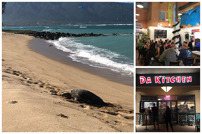 collage of 3 photos from Kanaha Beach and Da Kitchen