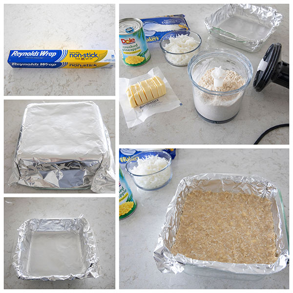 collage of Making A Coconut Crust for Pineapple Coconut Bars