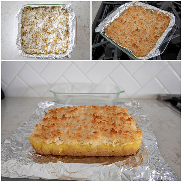 collage of making Pineapple Coconut Bars with Coconut Topping