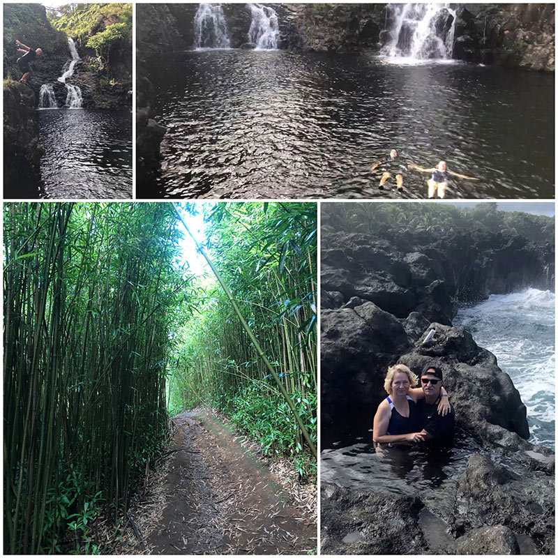 collage of photos from Road to Hana tour