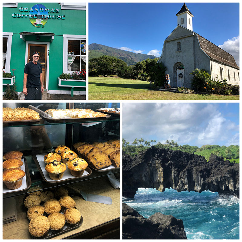 collage from Road to Hana and Grandma\'s Coffee House