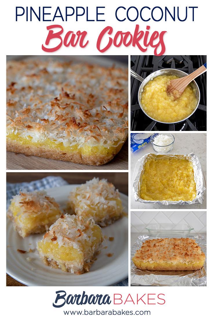 Pineapple Coconut Bar Cookies via @barbarabakes