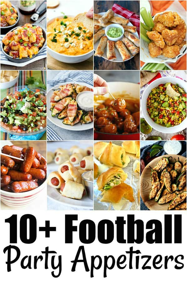 collage of 10+ Football Party Appetizers