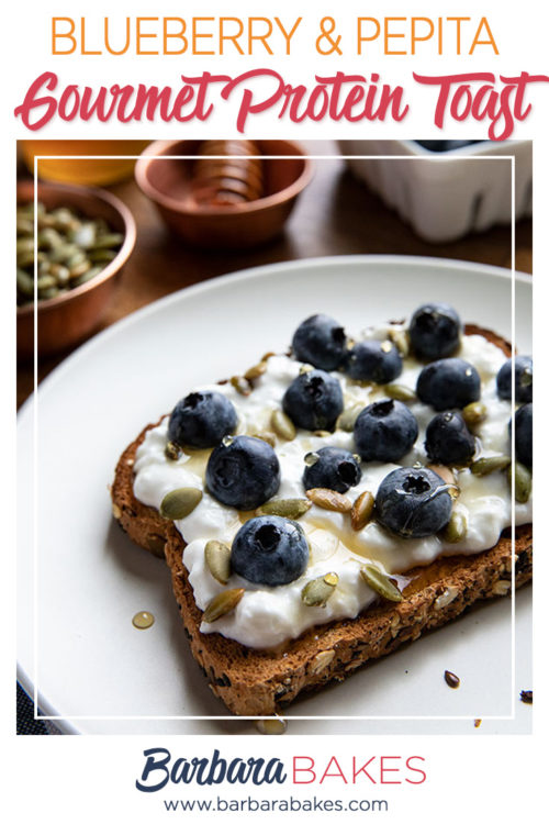 Blueberry Cottage Cheese and Pepitas spread over toast for a Gourmet Protein breakfast toast | Recipe by Barbara Bakes