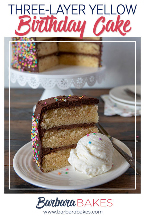 Classic Triple-Layer Yellow Birthday Cake, sliced and plated with ice cream
