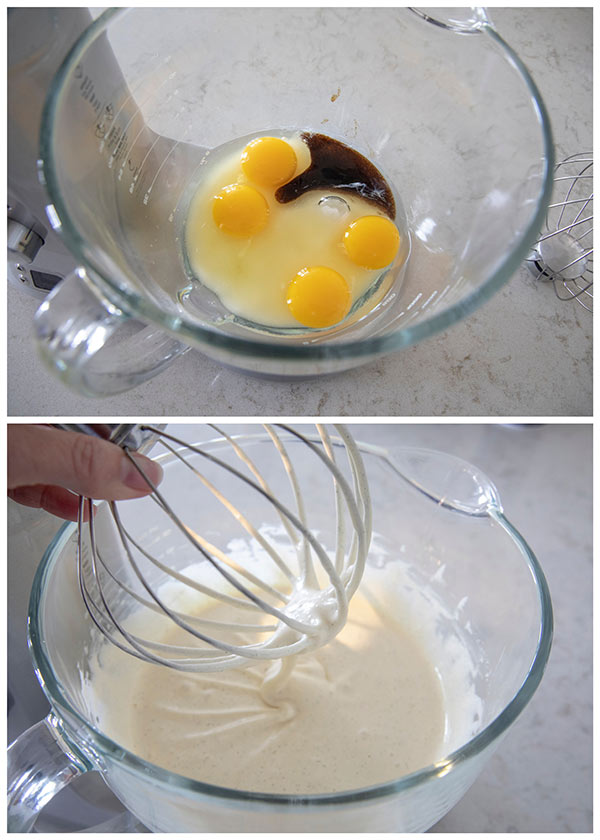 A collage showing beating the eggs and sugar until thick.