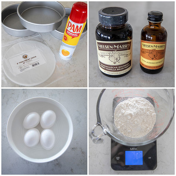collage of ingredients and pans for making a triple layer cake.