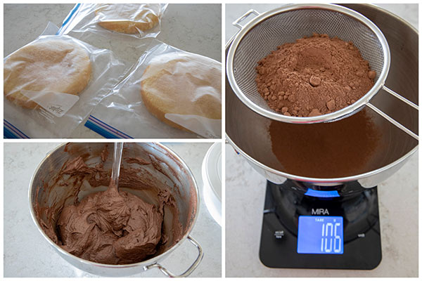 collage of making chocolate frosting