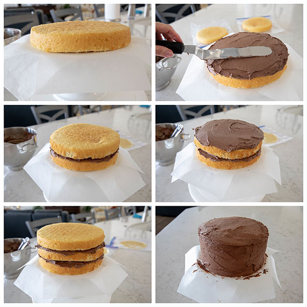 collage of step by step pictures showing how to frost a triple layer cake.