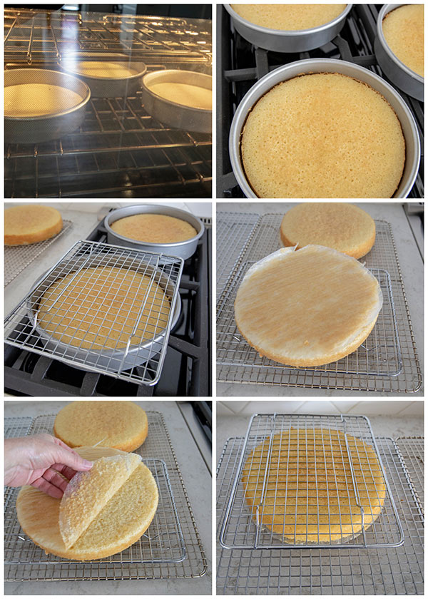 collage on how to turn a cake out of the cake pan.