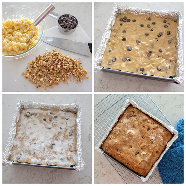 collage of making Banana Bread Snack Cake