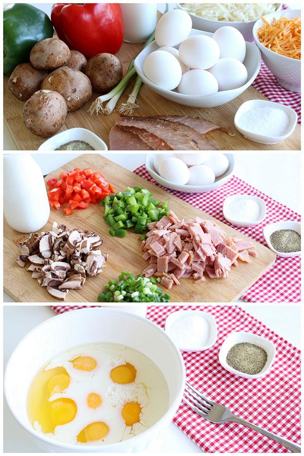 collage of Breakfast Hashbrown Casserole ingredients